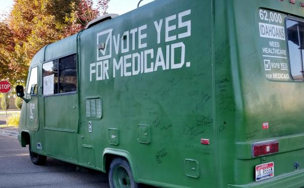 Organizers with Idahoans for Healthcare have been driving this green vehicle around the state to campaign for Medicaid expansion.
