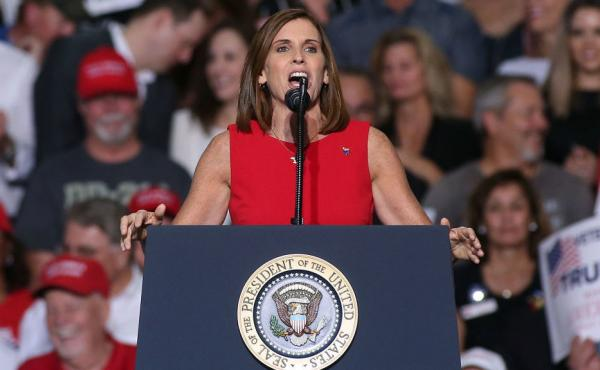 "Rep. Martha McSally, R-Ariz, speaks during a rally for President Trump in October. In response to her appointment, McSally said she was ""humbled"" and looked forward to working with Sen.-elect Kyrsten Sinema, her former opponent."
