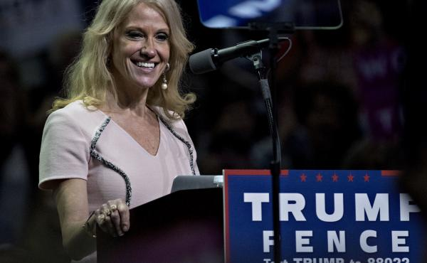 Kellyanne Conway, now an adviser to President Donald Trump and seen here at a November campaign rally, said on NBC News that the Trump administration plans to move Medicaid financing to block grants administered by states.