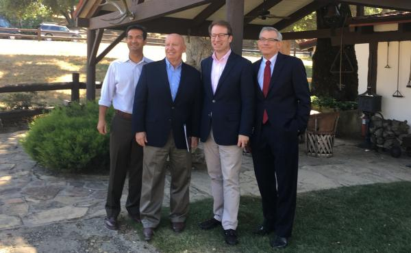 Reps. Carlos Curbelo, R-Fla., Kevin Brady, R-Texas, Peter Roskam, R-Ill., and Dave Schweikert R-Ariz., stand outside Rancho del Cielo in California, where they were crafting tax overhaul plans.