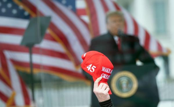 President Trump speaks to supporters on Jan. 6 before pro-Trump extremists launched a violent attack on the U.S. Capitol. Trump's role in encouraging the siege over false claims of election fraud has hardened divisions in the Republican Party.