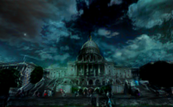 """An image of the U.S. capitol building distorted in what researchers from MIT call a """"toxic city"""" style by an artificial intelligence algorithm."""
