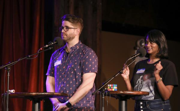 Contestants compete in Ask Me Another's final round at the Bell House in Brooklyn, New York.