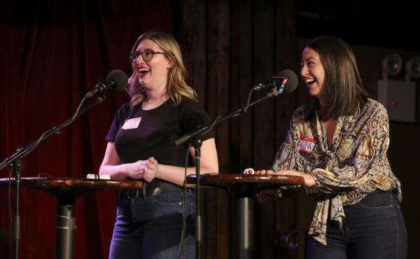 Contestants Paige Bowman and Kim Souza appear on Ask Me Another at the Bell House in Brooklyn, New York.