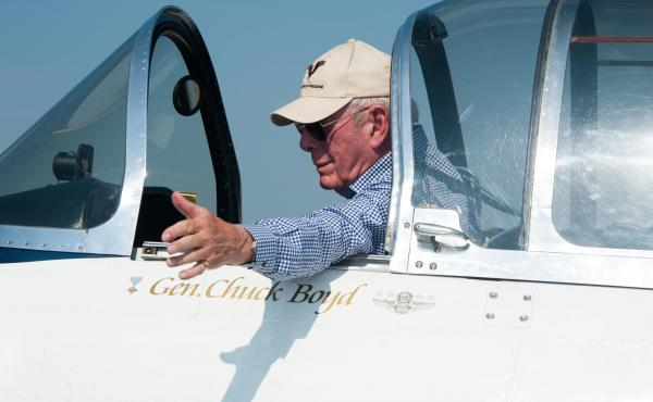 Retired Gen. Chuck Boyd at Maxwell Air Force Base in Montgomery, Ala., in 2016.