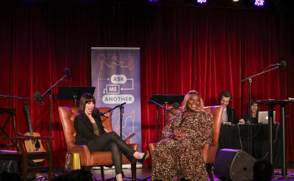 Host Ophira Eisenberg and Retta on Ask Me Another at the Bell House in Brooklyn, New York.