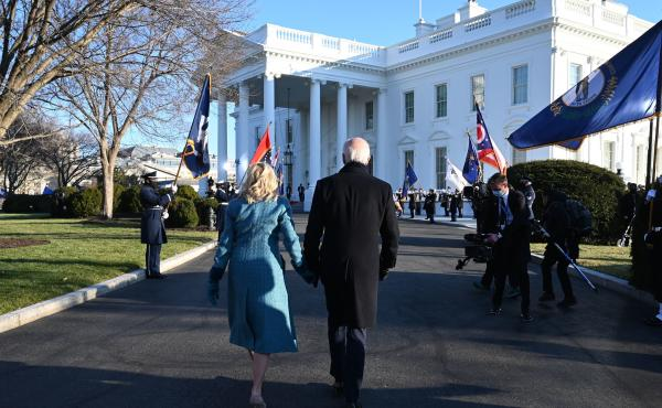 President Biden and first lady Jill Biden arrive at the White House on Wednesday. The Biden administration has made several changes to the White House website with an eye toward inclusivity and accessibility.