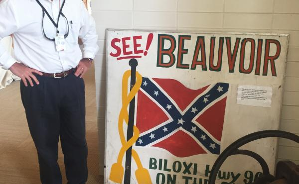 """Greg Stewart is executive director of Beauvoir, the former Biloxi, Miss., home of Confederate President Jefferson Davis. Stewart wants to preserve the Mississippi state flag with its Confederate emblem. """"When you're asking me to take it down because those"""