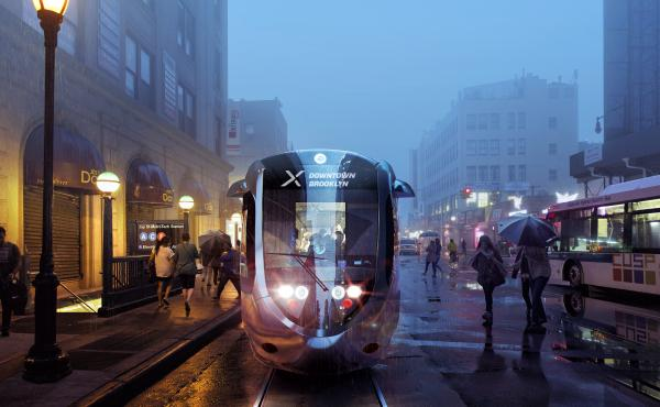 New York Mayor Bill de Blasio recently unveiled details of his plan to build a streetcar connecting Brooklyn and Queens. Above is a rendering of the proposed streetcar line.