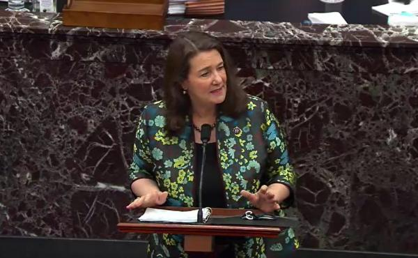 Rep. Diana DeGette, D-Colo., speaks on the third day of former President Donald Trump's second impeachment trial, Thursday at the U.S. Capitol. DeGette referenced court documents and social media posts to argue that Trump supporters believed they were fol