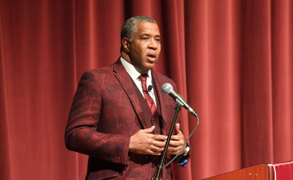 Robert F. Smith, founder, chairman and CEO of Vista Equity Partners, speaks at Morehouse College on Feb. 17, 2018 in Atlanta. Smith announced on Sunday he will pay off the student debt of the college's entire 2019 graduating class.