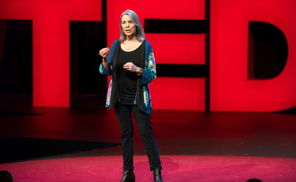 Robin Steinberg on the TED stage.