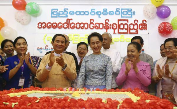 Aung San Suu Kyi celebrated her 73rd birthday with members of her National League for Democracy party at the parliament building in Naypyitaw, Myanmar on Tuesday.