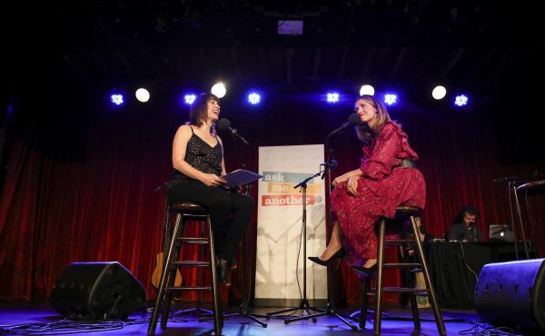 Ask Me Another host Ophira Eisenberg chats with Rose Byrne at the Bell House in Brooklyn, New York.