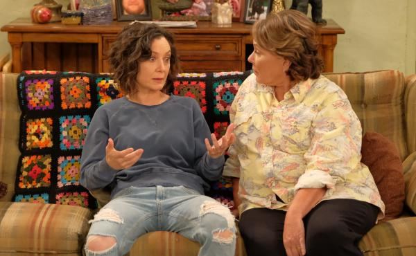 Sara Gilbert and Roseanne Barr in the return of ABC's Roseanne. Gilbert — but not Barr — will re-return in the spinoff The Conners.