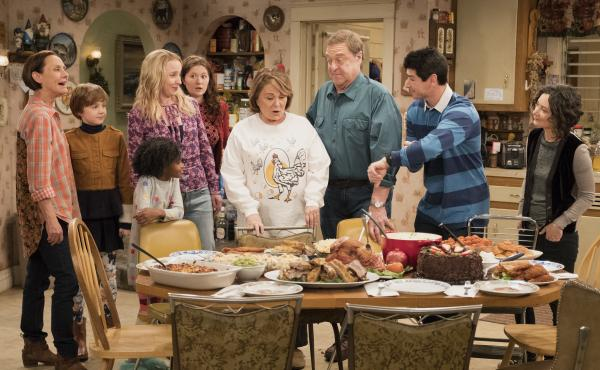 ABC's Roseanne reboot stars (left to right) Laurie Metcalf, Ames McNamara, Jayden Rey, AliciaGoranson, Emma Kenney, Roseanne Barr, John Goodman, Michael Fishman and SaraGilbert.
