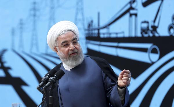 In a photo released by the official website of the office of the Iranian Presidency, President Hassan Rouhani speaks at a conference in Tehran, on Monday.