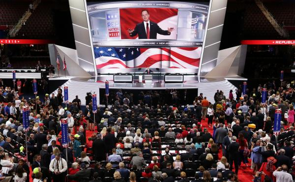 Reince Priebus, chairman of the Republican National Committee, speaks to the delegates on start of the first day of the Republican National Convention. An estimated 50,000 people are expected in Cleveland, including hundreds of protesters and members of t