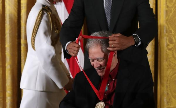 President Barack Obama presents the National Humanities Medal to author Rudolfo Anaya at a ceremony in September 2016.