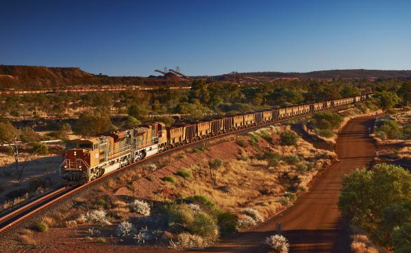 The BHP train that was derailed in Western Australia was loaded with iron ore, like this one in a photo provided by the company.