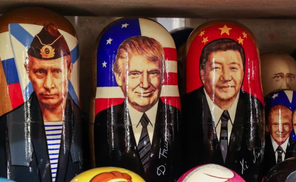 Russian dolls with the likenesses of Russia's President Vladimir Putin, President Trump and China's President Xi Jinping at a gift shop in Russia. While many world leaders have congratulated President-elect Joe Biden, Russia and China have held off.