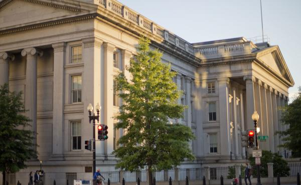 The U.S. Treasury Department building in Washington announced Friday that is imposing sanctions on Russia's Agrosoyuz Commercial Bank.