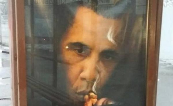 """A fake anti-smoking ad in Moscow reads: """"Smoking kills more people than Obama, although he kills a lot of people. Don't smoke! Don't be like Obama!"""""""