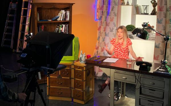 Journalist Masha Borzunova during a taping of the show Fake News in TV Rain's Moscow studios.