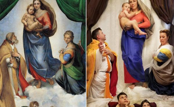 Elena Nikolaenko re-created Raphael's Sistine Madonna with her husband, mother and three children.
