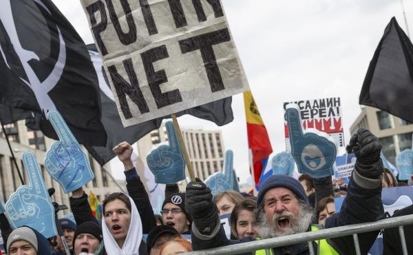 Demonstrators shout during a Free Internet rally in Moscow, Russia, on Sunday. The protesters fear widespread censorship and isolation, following a bill that calls for Russia to be cut off from the global Internet.