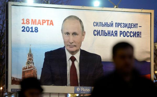 """A billboard in St. Petersburg, Russia, shows an image of Russia's President Vladimir Putin in January. The sign says, """"Strong president — Strong Russia."""""""