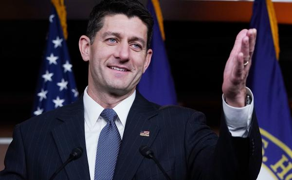 House Speaker Paul Ryan answers reporters' questions moments after the House narrowly passed a budget, 216 to 212, beginning a process for the Senate to move forward on an overhaul of the tax code.