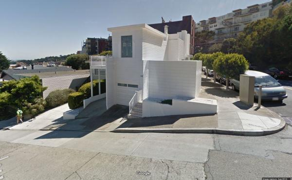 The Richard Neutra-designed home at 49 Hopkins Ave. in San Francisco, as seen in an old Google Street View photograph.