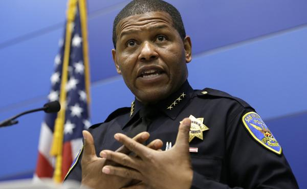 San Francisco Police Chief Bill Scott answers questions during a May 21 news conference. Scott has apologized for a raid on a freelance journalist's home.