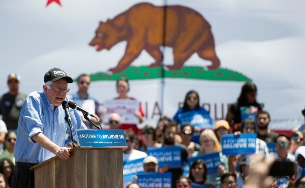 Democratic presidential candidate Bernie Sanders addresses a rally Wednesday at the Santa Clara County Fairgrounds in San Jose, Calif. The senator's campaign is intently focused on a big win in the state on June 7, and has poured money into TV ads there.