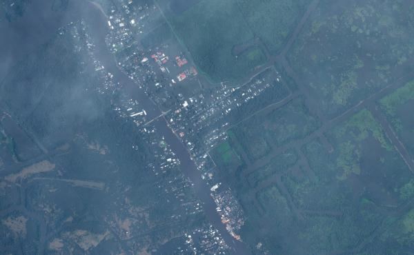 Aerial image of Jean Lafitte, La. after Hurricane Ida hit the town.