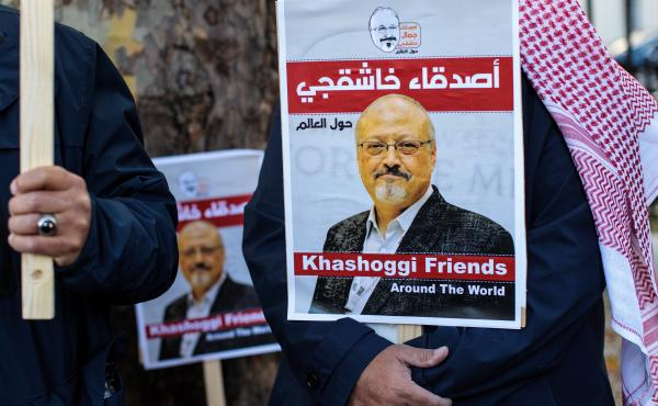 Protesters outside the Saudi Arabian Embassy in London in October 2018 demonstrate against the killing of journalist Jamal Khashoggi. On Monday, five people were sentenced to death for the killing, and three others received prison sentences.