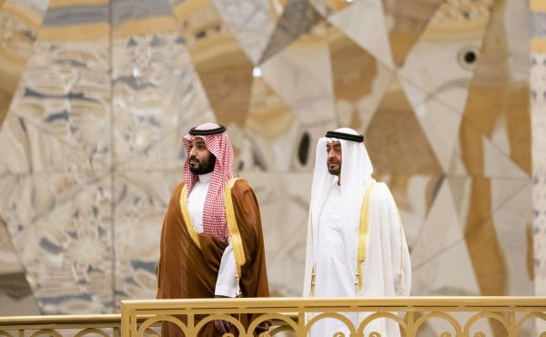 Saudi Crown Prince Mohammed bin Salman (left) attends a ceremony with Abu Dhabi Crown Prince Mohammed bin Zayed Al Nahyan in Abu Dhabi, United Arab Emirates, in November. The Saudi crown prince was in the UAE for talks that were expected to focus on the w