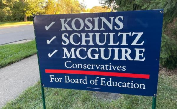 A campaign sign for a slate of candidates challenging three incumbent board members in Centerville, Ohio. If they win, they would control the five member board. It is a non-partisan position, but national political hot buttons have infused the race.
