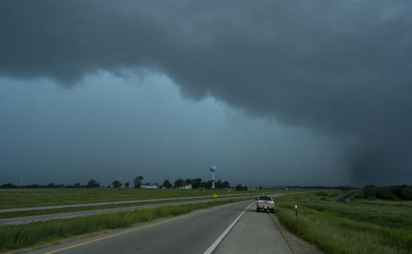 Rain obscures the view of a tornado on May 28 in Lawrence, Kan.