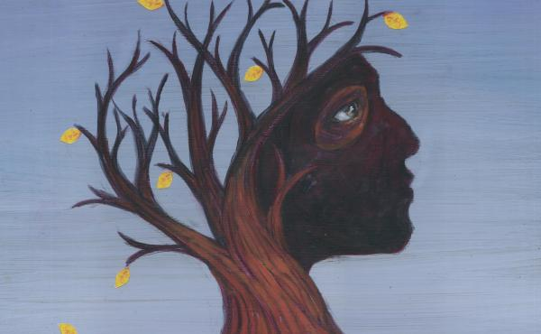 Conceptual illustration of deciduous tree depicting Alzheimer's disease.