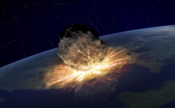 Artwork of an asteroid (not to scale) hitting Earth.