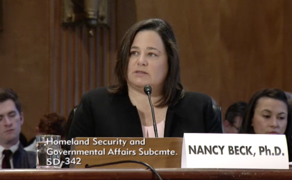 Nancy Beck testifies in front of the Senate in 2017 when she was a senior policy director at the American Chemistry Council trade group. President Trump nominated Beck to head the Consumer Product Safety Commission.