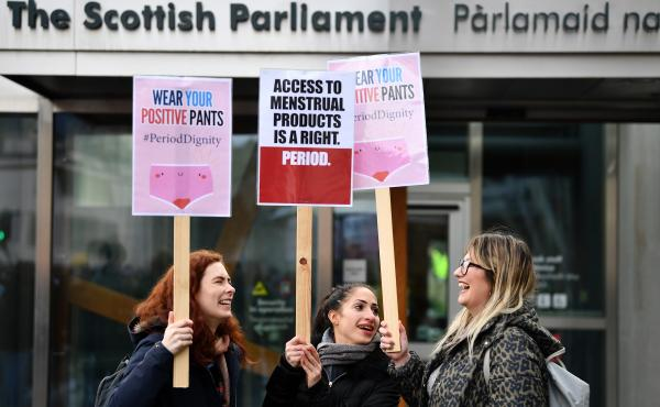 Activists rally outside the Scottish Parliament in Edinburgh in February in support of legislation for free period products. Scotland will make these products free to all who need them after lawmakers unanimously passed a bill that will require tampons an