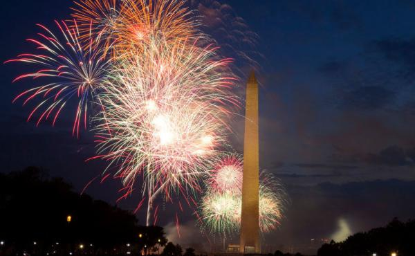Fireworks burst over Washington Monument at the National Mall during Independence Day celebrations on July 4, 2020.