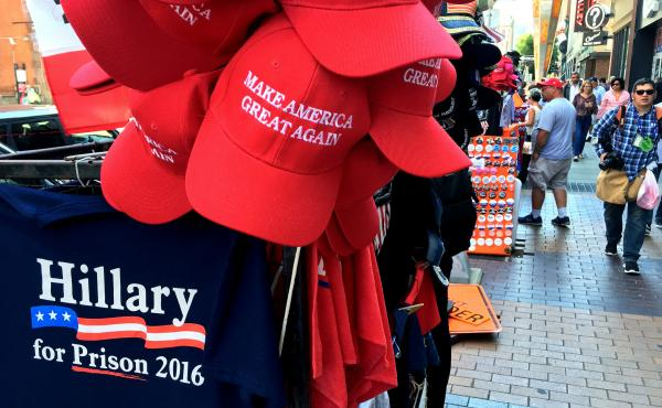 """""""Hillary for Prison"""" merchandise is a top-seller at the dozens of vendor stands outside of the Republican National Convention in downtown Cleveland."""