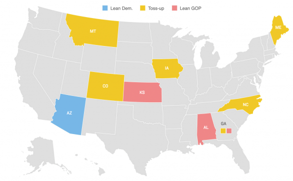 Map: The Senate is currently controlled 53-47 by Republicans. These ten races will determine which party wins the majority.