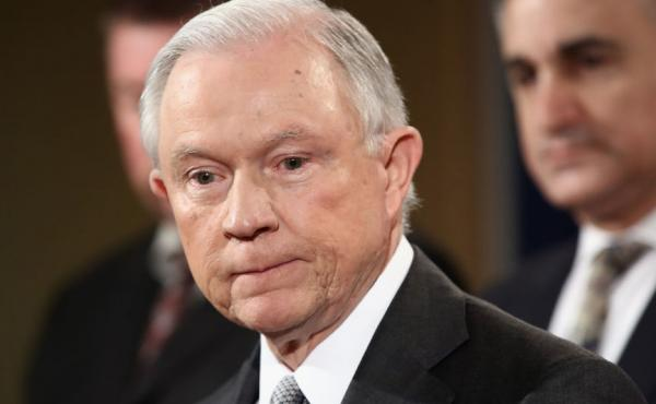 """Attorney General Jeff Sessions addresses the Sergeants Benevolent Association of New York City at an event Friday in Washington, D.C. During his speech, Sessions said federal prosecutors """"deserve to be unhandcuffed and not micromanaged from Washington."""""""
