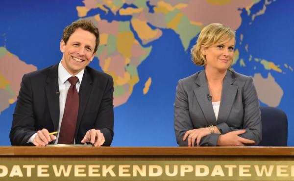 Seth Meyers anchored Saturday Night Live's Weekend Update with Amy Poehler.