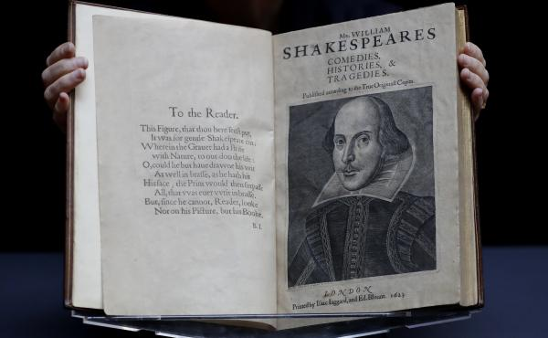 William Shakespeare's First Folio is displayed at Christie's auction rooms in London earlier this year. The book was published in 1623 and contains 36 of Shakespeare's plays.